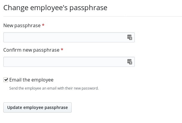 Set employee password